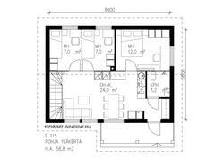 115 m2 taloon saa 2 tai 3 makuuhuonetta yläkertaan tarpeen mukaan.