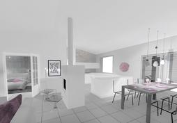 Ruokailutilan ja keittiön sijoittuminen tilassa (havainnekuva)