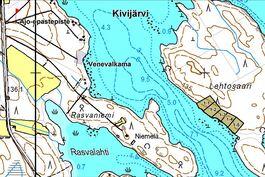 Tonttikartta, jossa näkyy tontit ja venepaikka mantereella.