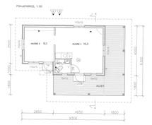 Pohjapiirustus pihatalo (suuntaa-antava, ei mittakaavassa)
