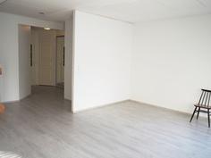Olohuone on 5,5 m x 3,9 m kuvan nurkasta mitaten.