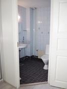Alakerran WC. Uudet altaat ja lattialaatat. Alkuperäinen peili.