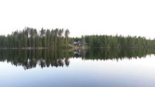 Näkymä järveltä. Oikealta naapurimökille matkaa n. 800m