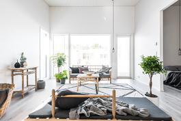 Avara olohuone ja keittiö