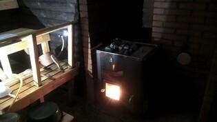 Ulkosauna puulämmitteinen kiuas + kuuma vesi samassa
