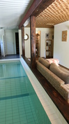 Takkahuone, uima-allas, kylppäri, wc ja sauna yhtä yhtenäistä tilaa