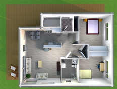 Pohjaratkaisu on tehty avonaiseksi. Suuret ikkunat antavat valoa kaikkiin talon tiloihin.