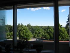 Olohuoneen ikkunasta avautuva näkymä on kuin Gallen-Kallelan maisemataulu.