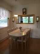 Olohuoneen ja keittiön yhdistää ruokailusyvennys.