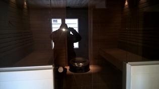 Sauna edestä kuvattuna