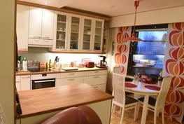 Keittiö olohuoneesta kuvattuna. Keittiön ja olohuoneen erottaa kuvassa näkyvä saareke.