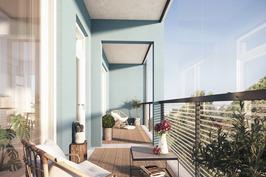 Tilava 15,0 m²:n lasitettu parveke on kuin yksi huone lisää.