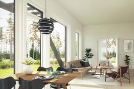 Avaruutta asuntoon tuovat 3,2 metrin huonekorkeus sekä lähes lattiasta kattoon ulottuvat ikkunat.