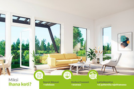 Ihanan kodin erityispiirteitä ovat upea valoisuus ja avaruus sekä miellyttävä lattialämmitys.