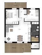 Kuvassa A talon pohja, B talon pohja samanlainen mutta peilikuvana.